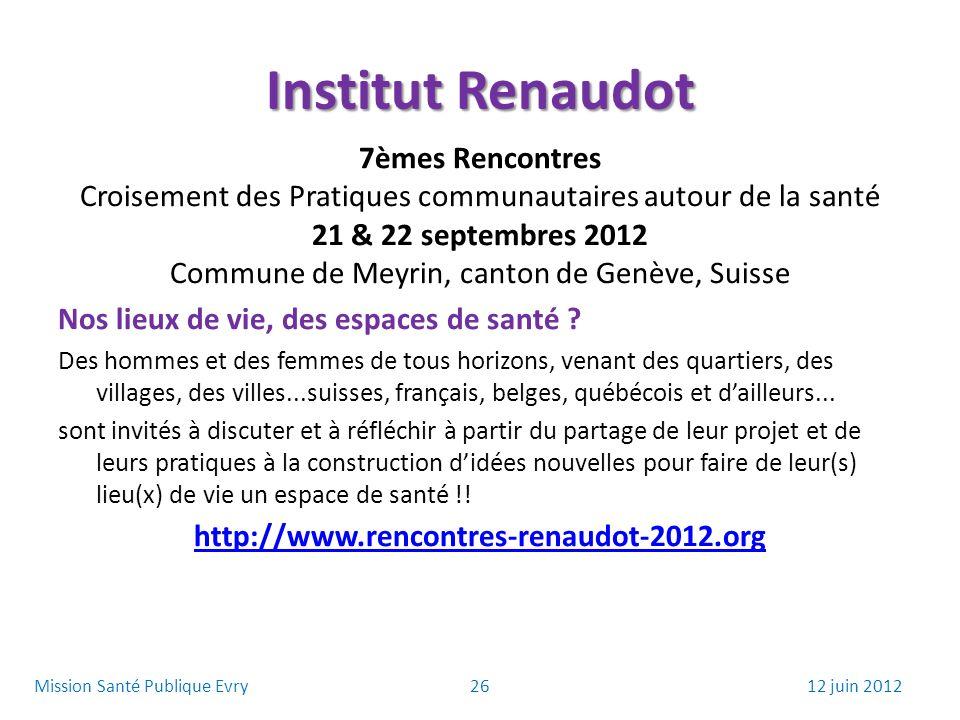 Institut Renaudot 7èmes Rencontres