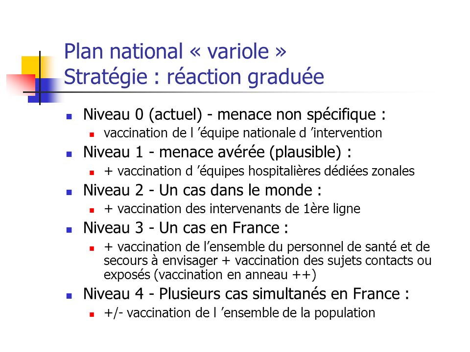 Plan national « variole » Stratégie : réaction graduée