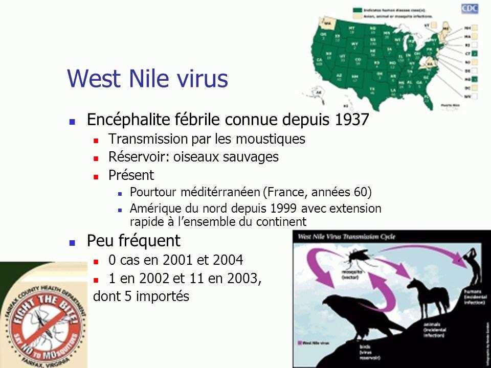 West Nile virus Encéphalite fébrile connue depuis 1937 Peu fréquent