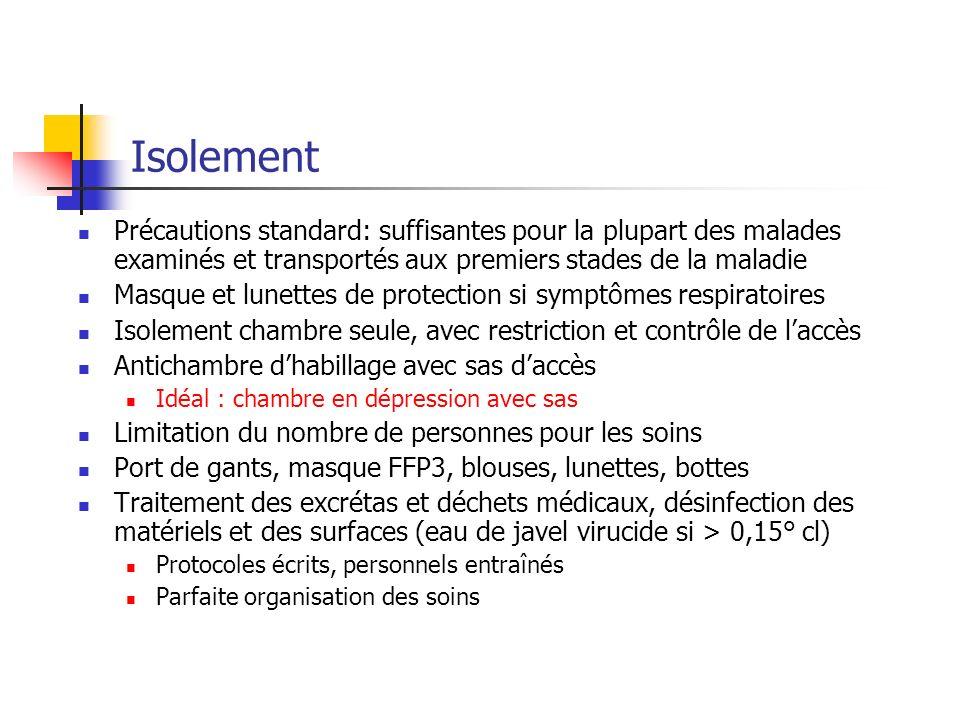 Isolement Précautions standard: suffisantes pour la plupart des malades examinés et transportés aux premiers stades de la maladie.