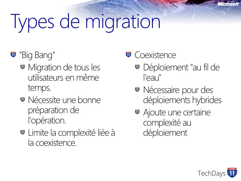 Types de migration Big Bang