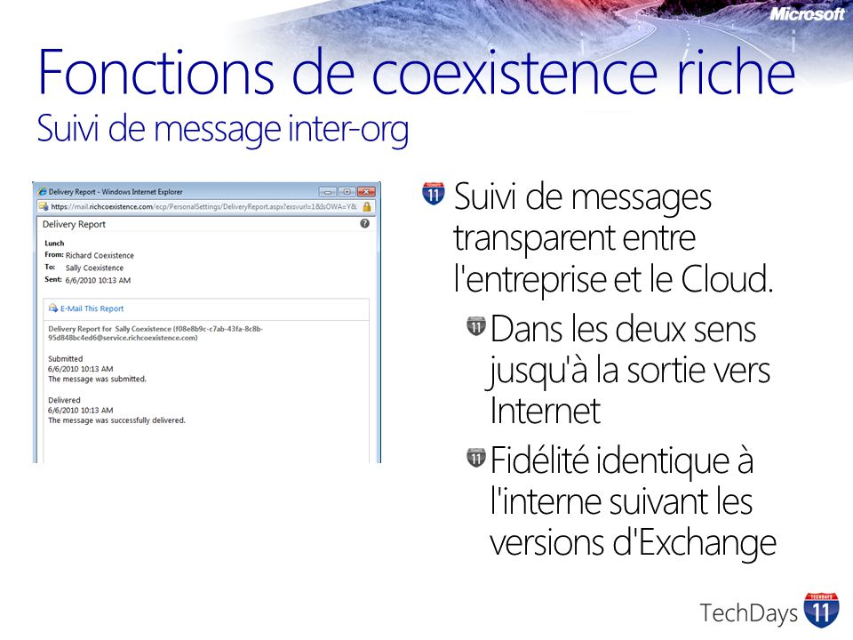 Fonctions de coexistence riche Suivi de message inter-org