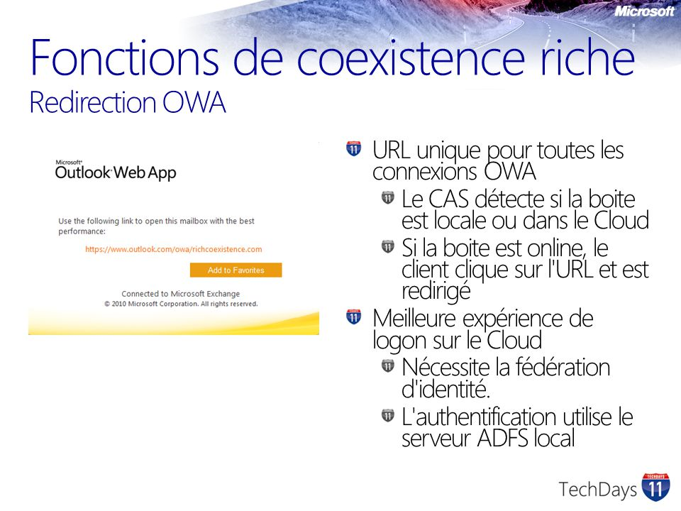 Fonctions de coexistence riche Redirection OWA