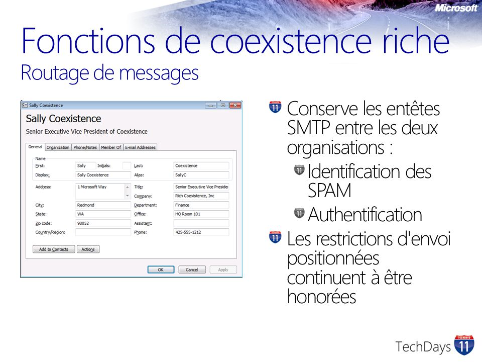 Fonctions de coexistence riche Routage de messages
