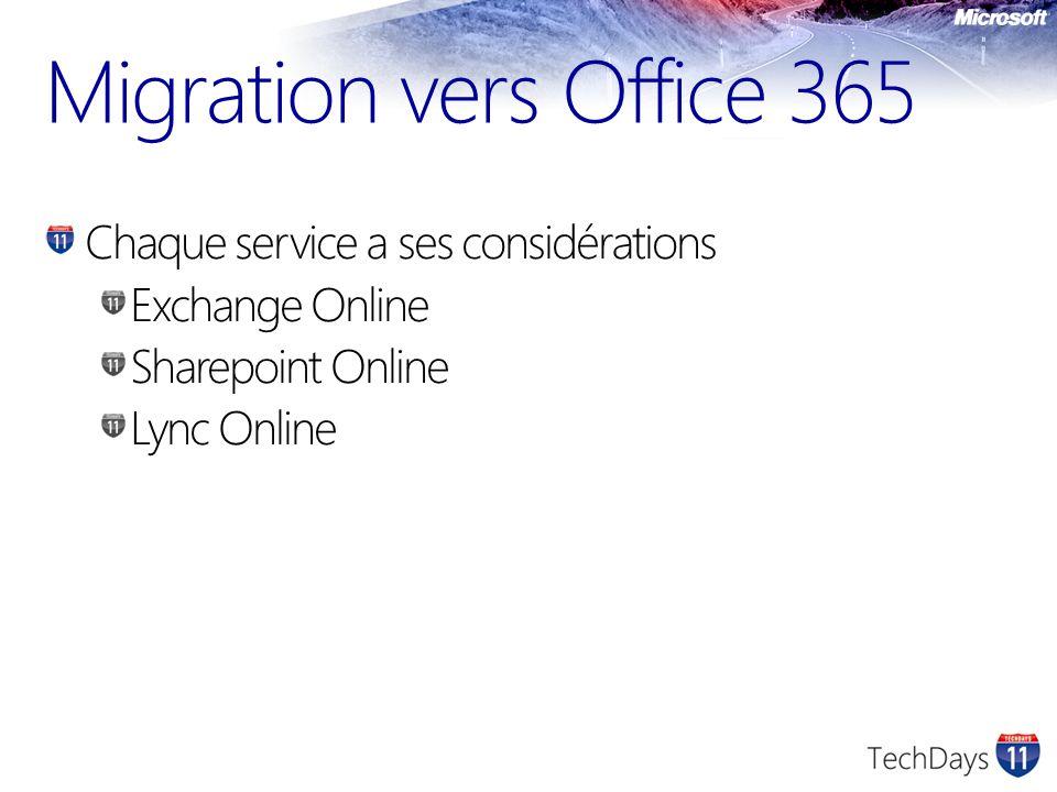 Migration vers Office 365 Chaque service a ses considérations