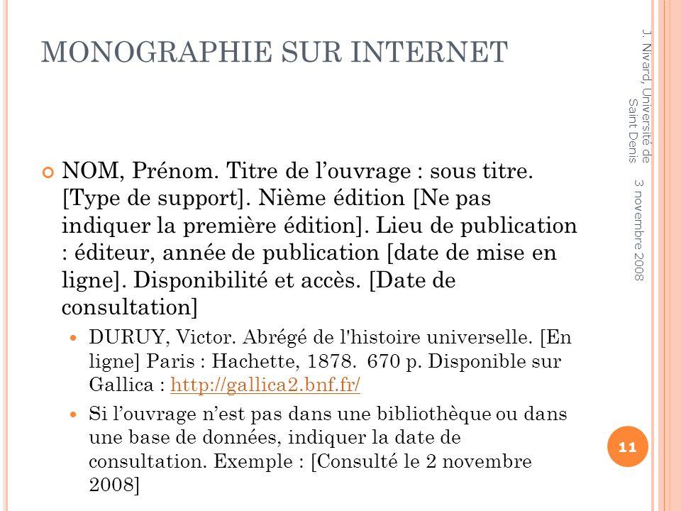 Monographie sur Internet