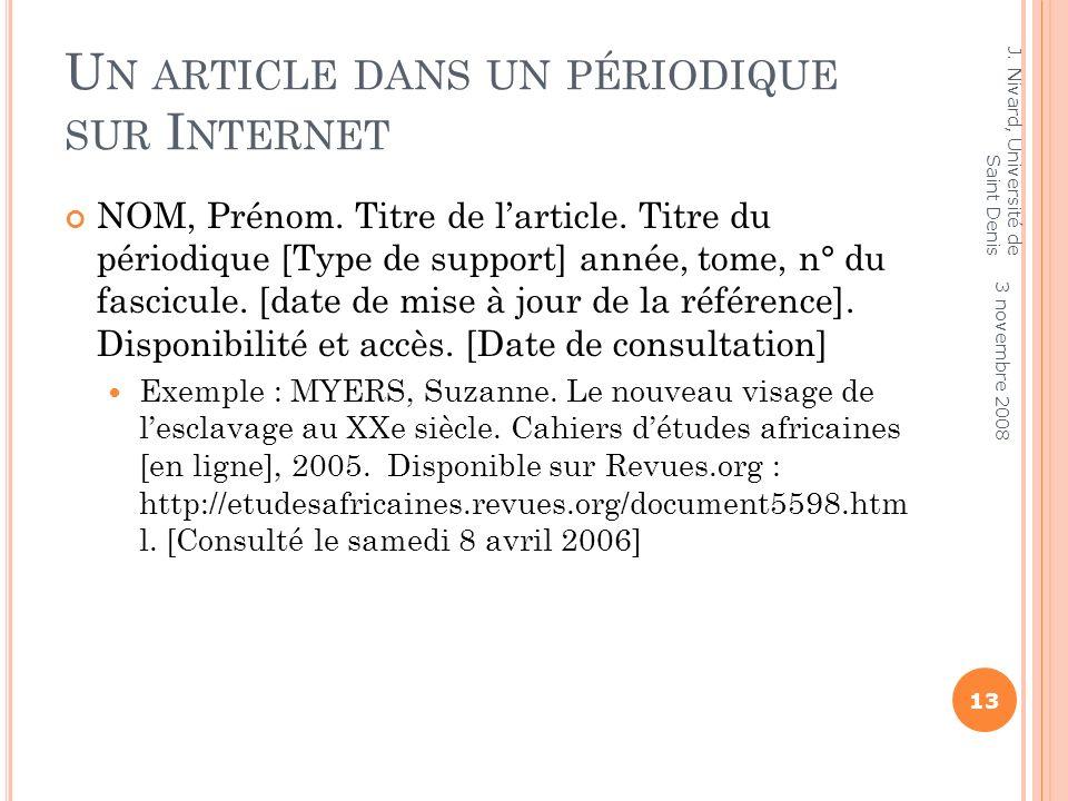 Un article dans un périodique sur Internet