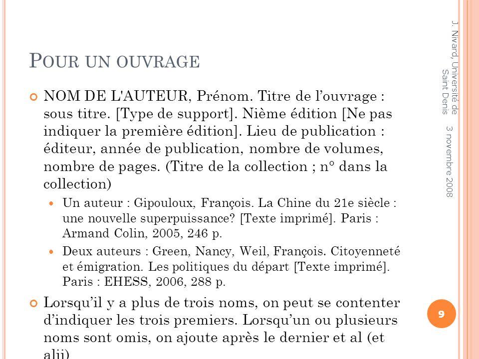 Pour un ouvrageJ. Nivard, Université de Saint Denis.