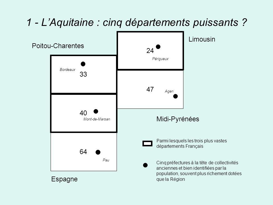 1 - L'Aquitaine : cinq départements puissants