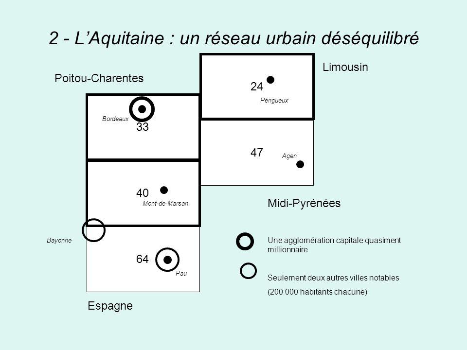 2 - L'Aquitaine : un réseau urbain déséquilibré