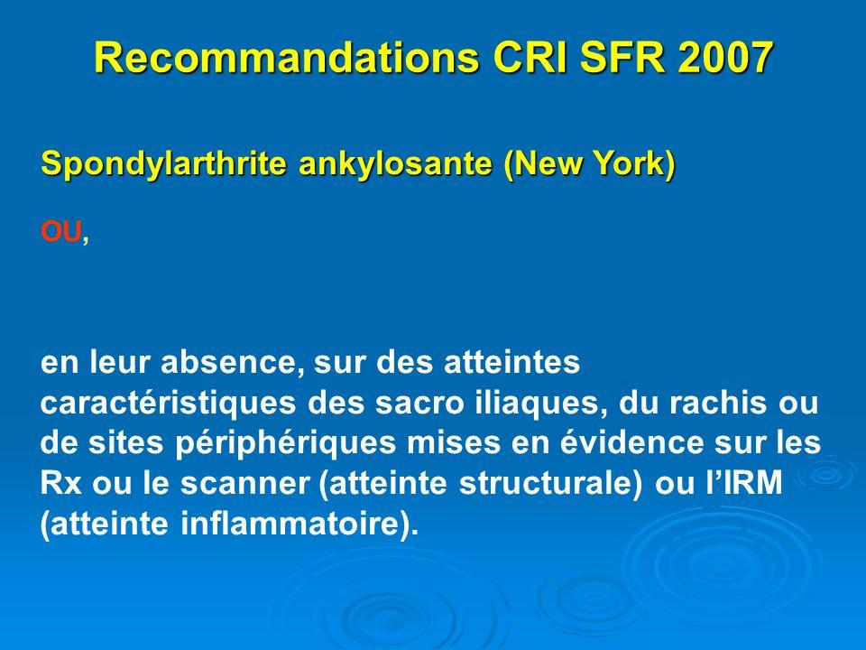 Recommandations CRI SFR 2007