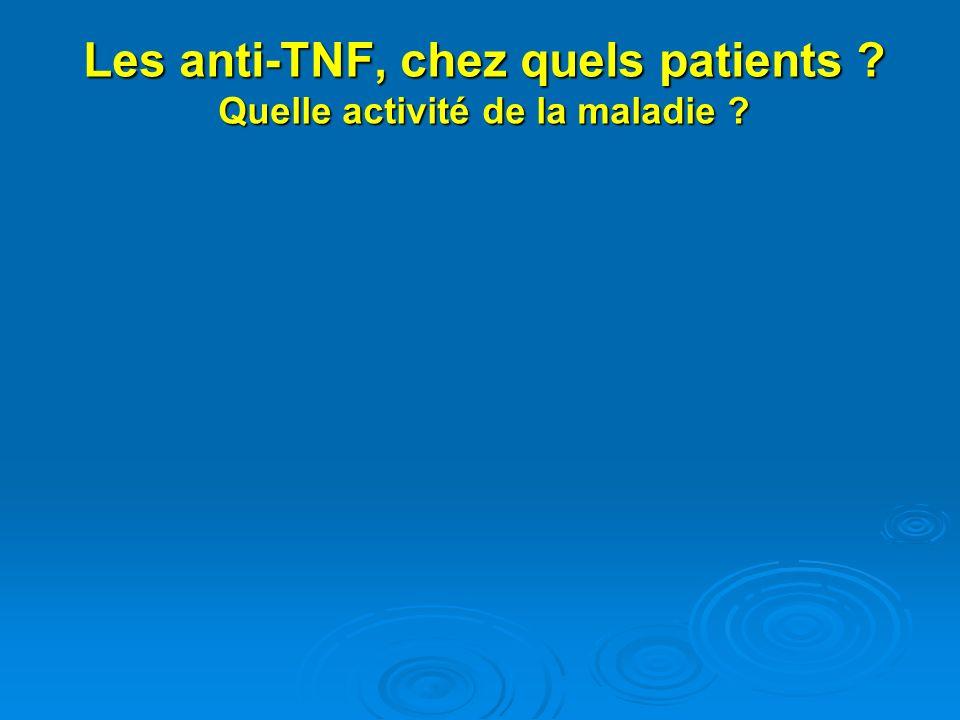 Les anti-TNF, chez quels patients Quelle activité de la maladie