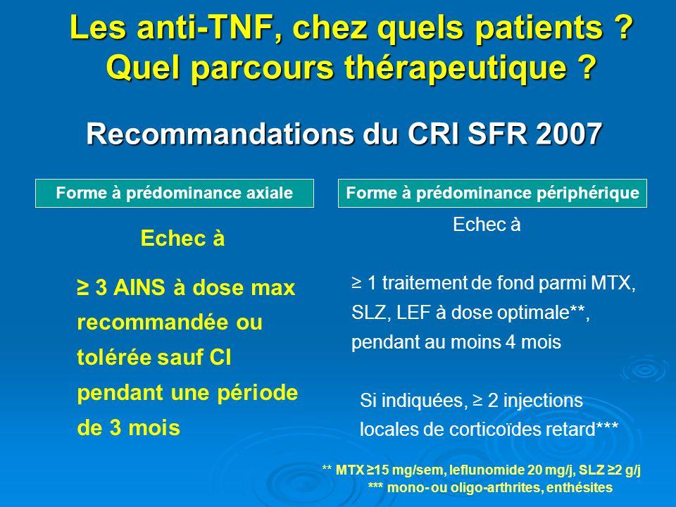 Les anti-TNF, chez quels patients Quel parcours thérapeutique