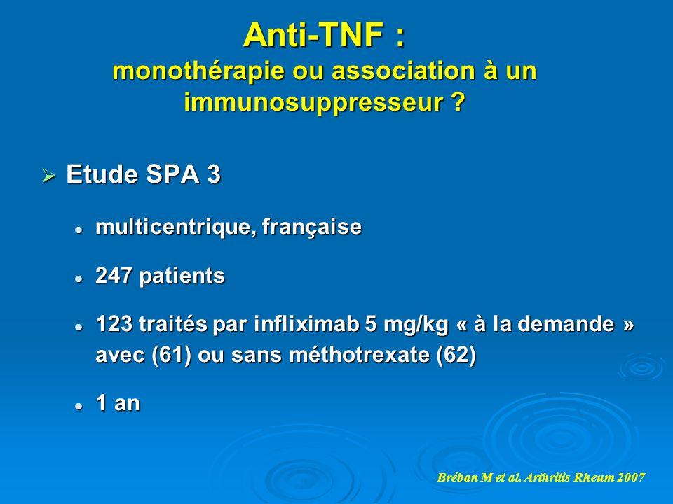 Anti-TNF : monothérapie ou association à un immunosuppresseur