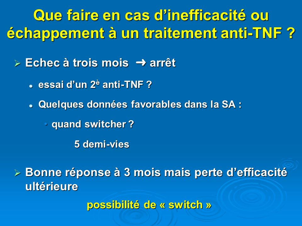 possibilité de « switch »