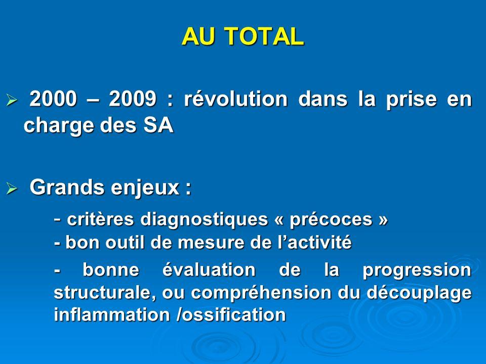 AU TOTAL 2000 – 2009 : révolution dans la prise en charge des SA