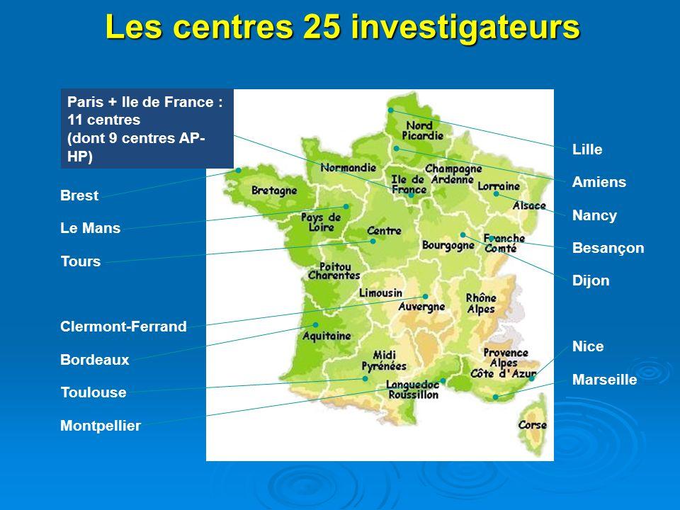 Les centres 25 investigateurs