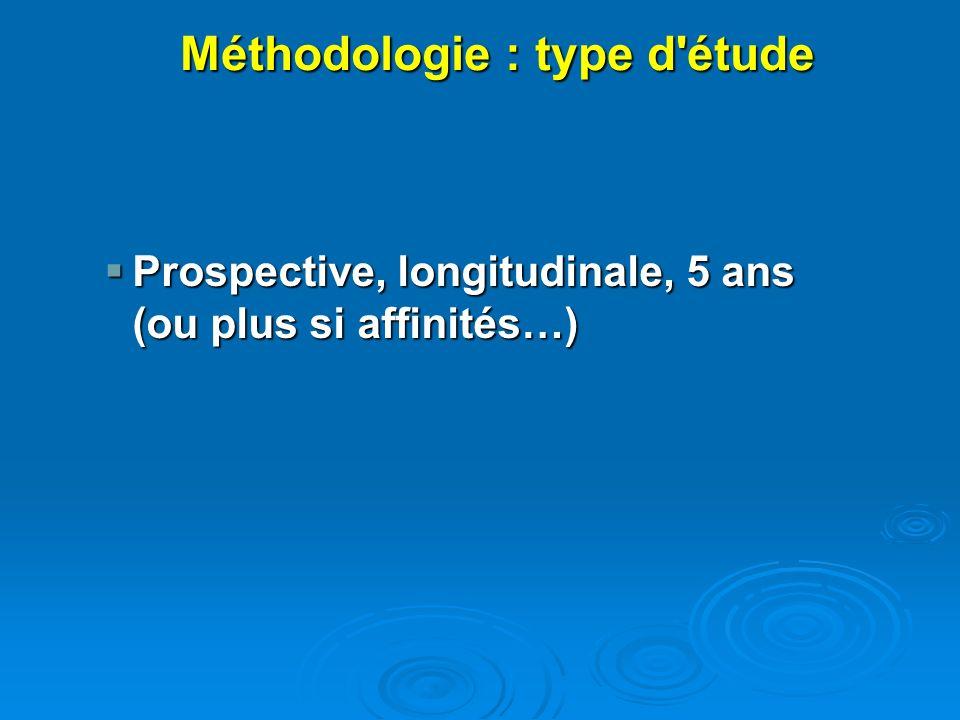 Méthodologie : type d étude