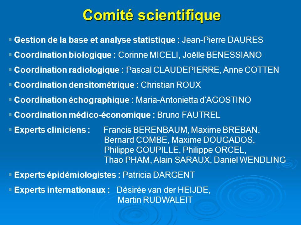 Comité scientifique Gestion de la base et analyse statistique : Jean-Pierre DAURES. Coordination biologique : Corinne MICELI, Joëlle BENESSIANO.