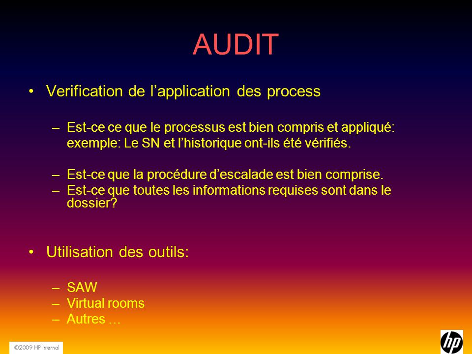 AUDIT Verification de l'application des process