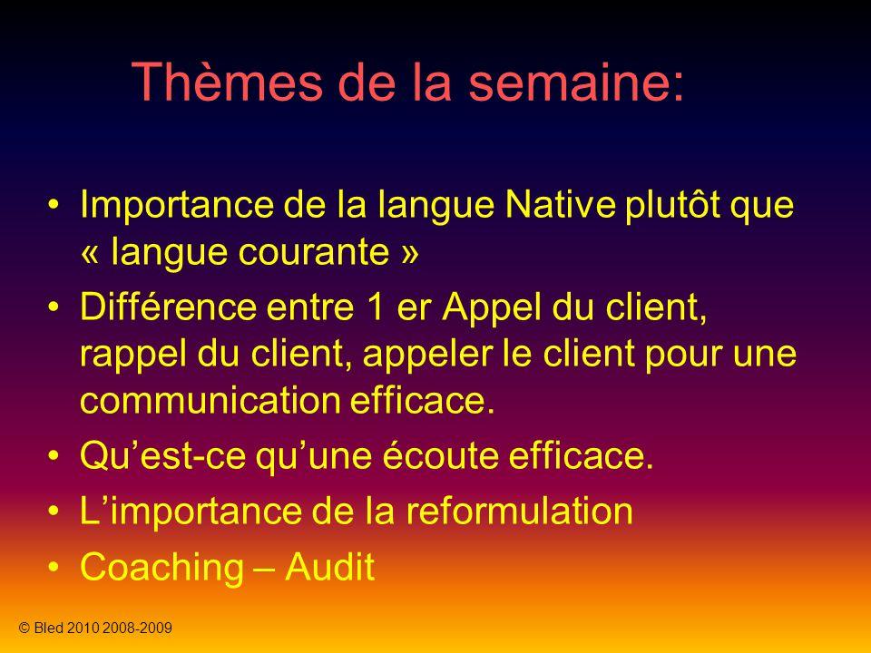 Thèmes de la semaine: Importance de la langue Native plutôt que « langue courante »
