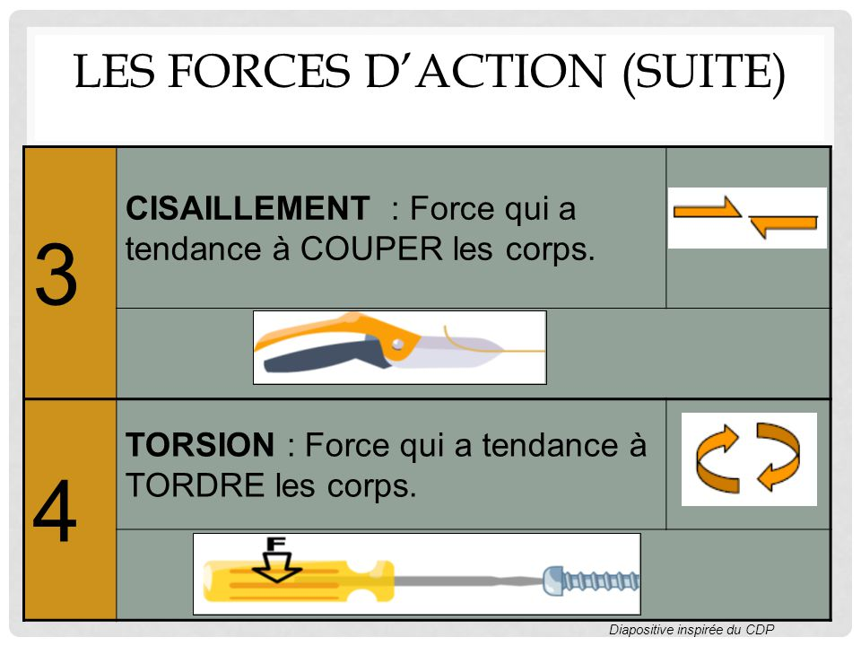 Les forces d'action (suite)