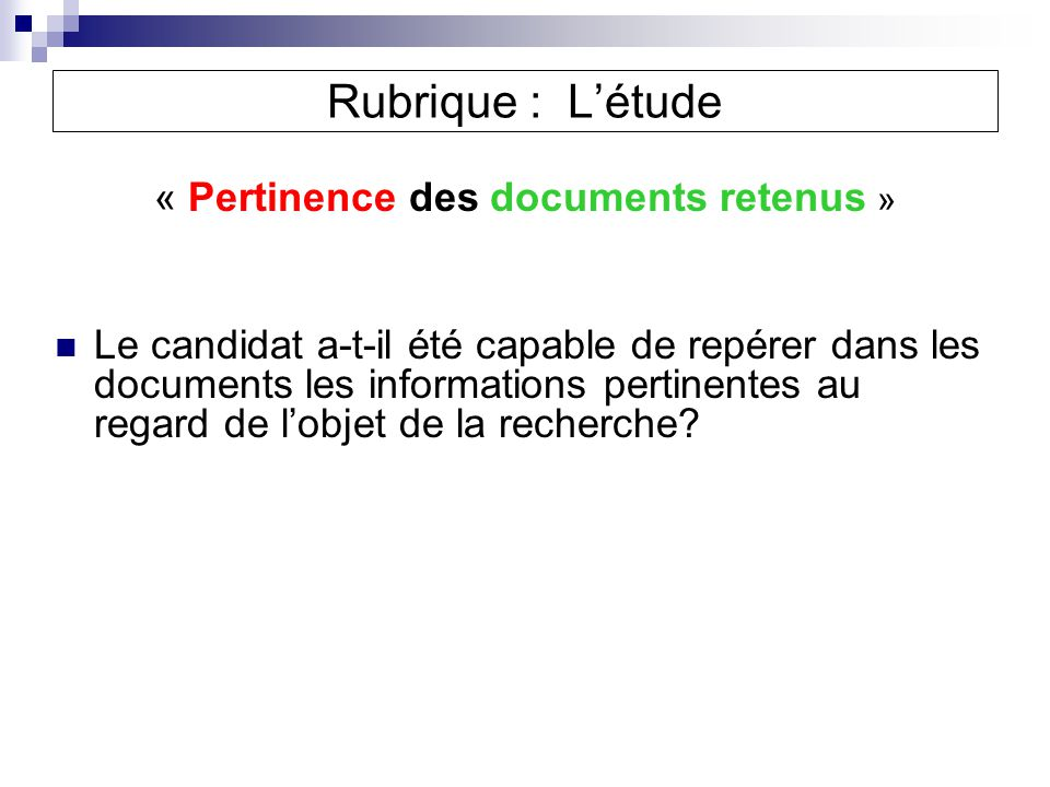 « Pertinence des documents retenus »