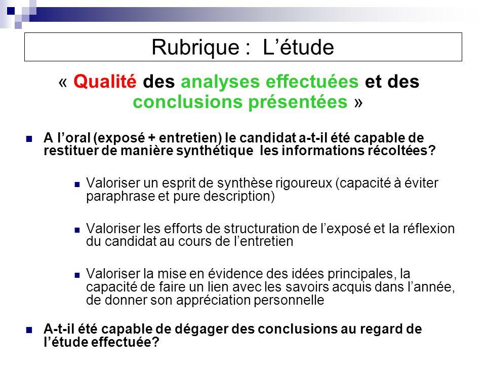 « Qualité des analyses effectuées et des conclusions présentées »