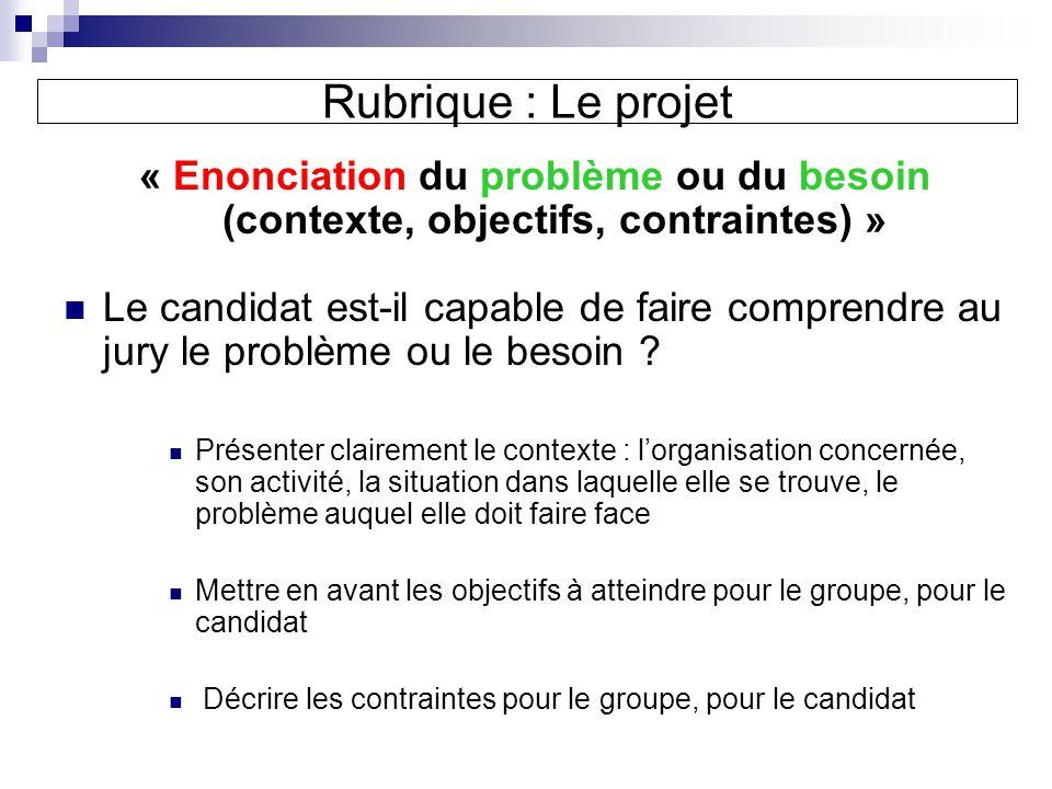 Rubrique : Le projet « Enonciation du problème ou du besoin (contexte, objectifs, contraintes) »