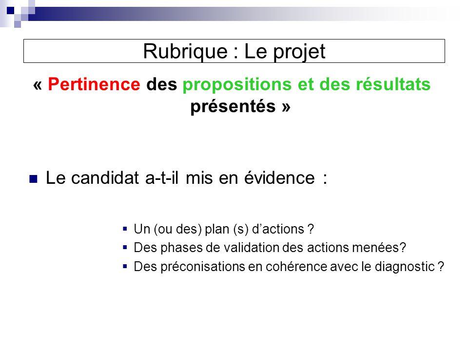 « Pertinence des propositions et des résultats présentés »