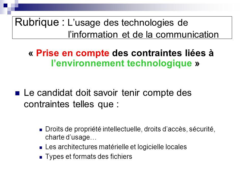Rubrique : L'usage des technologies de l'information et de la communication