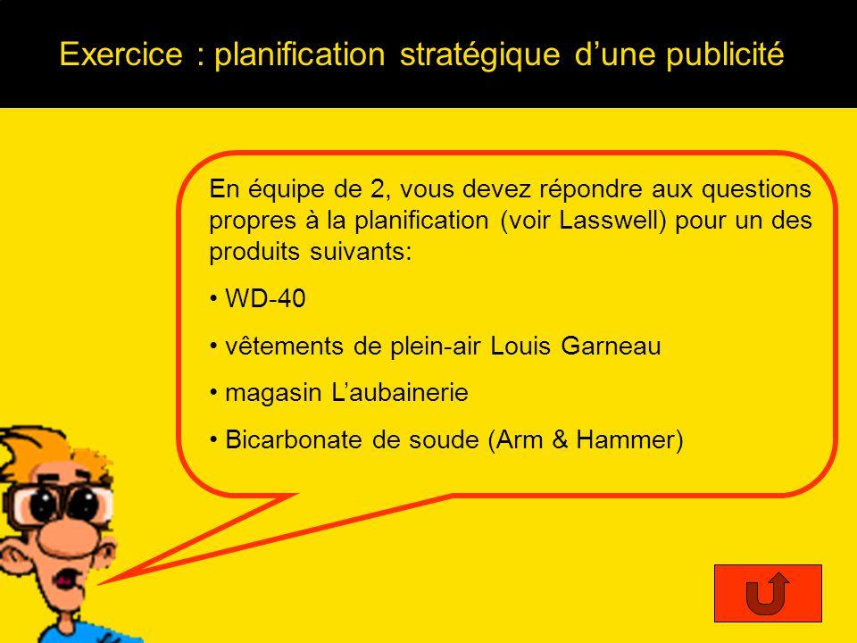 Exercice : planification stratégique d'une publicité