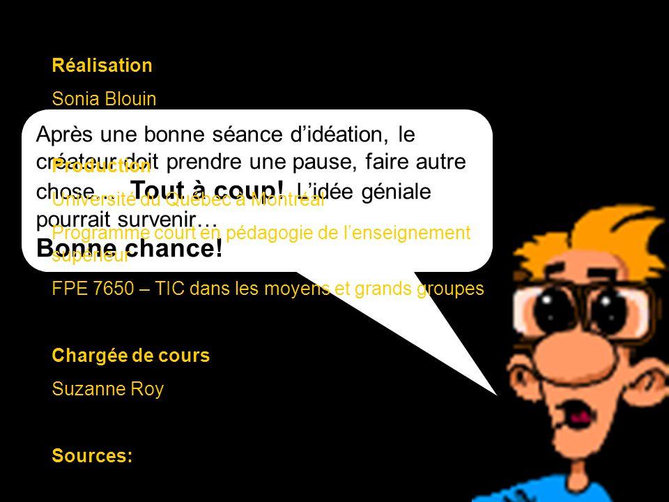 Réalisation Sonia Blouin. Production. Université du Québec à Montréal. Programme court en pédagogie de l'enseignement supérieur.