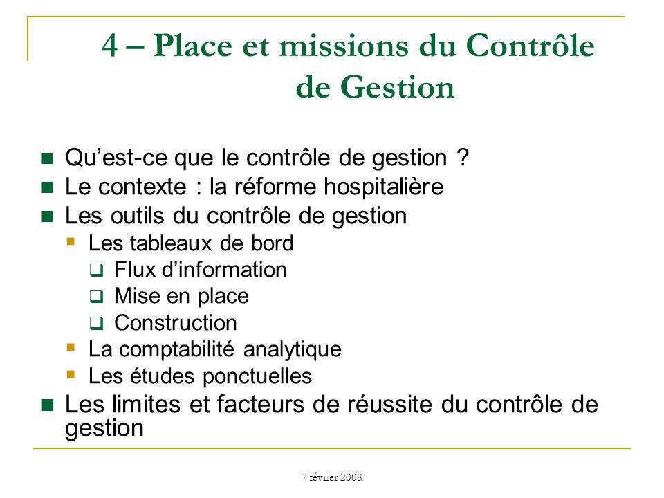 4 – Place et missions du Contrôle de Gestion
