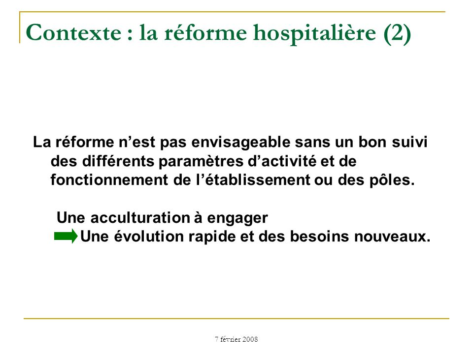 Contexte : la réforme hospitalière (2)