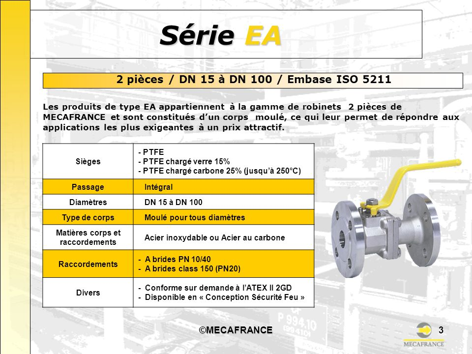 2 pièces / DN 15 à DN 100 / Embase ISO 5211