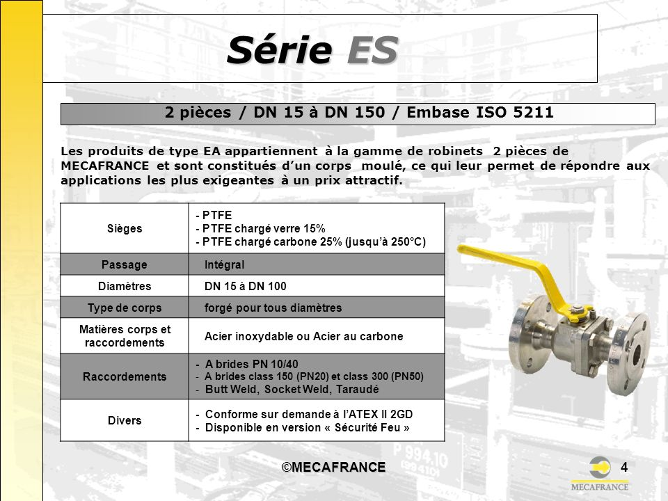 2 pièces / DN 15 à DN 150 / Embase ISO 5211
