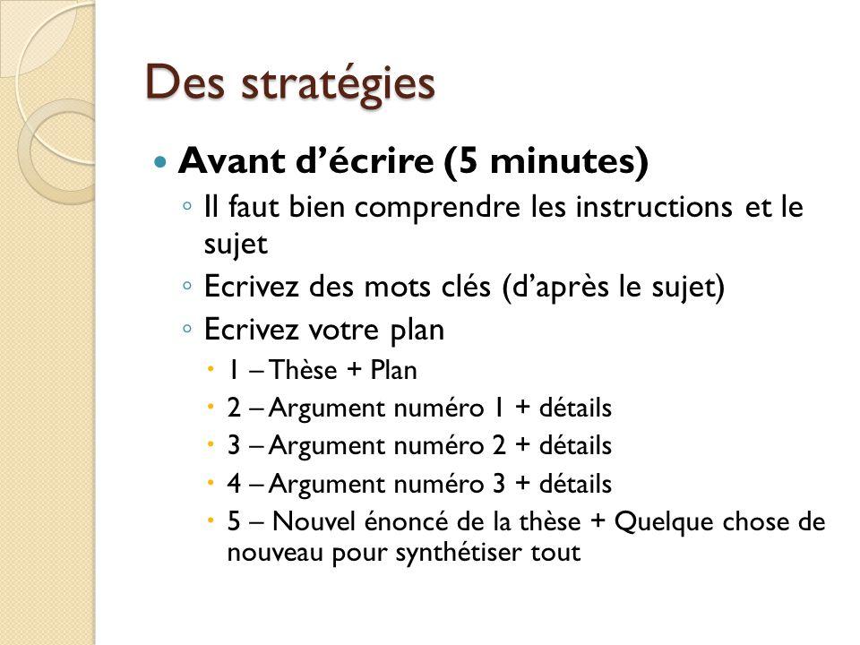 Des stratégies Avant d'écrire (5 minutes)