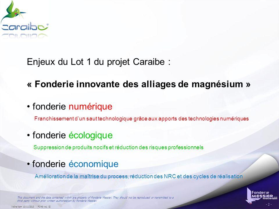 Enjeux du Lot 1 du projet Caraibe :