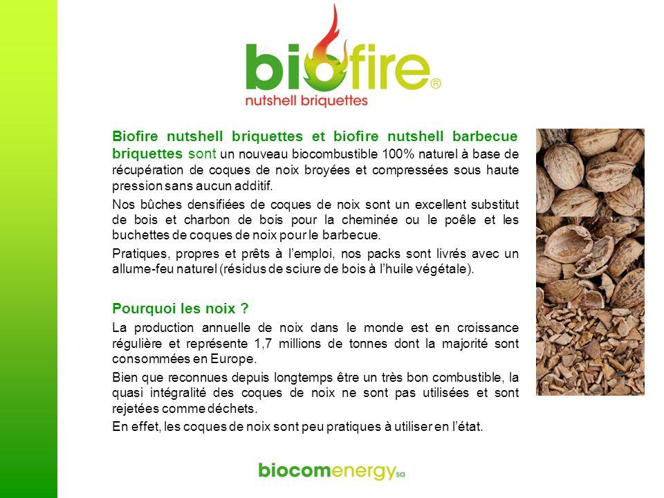 Biofire nutshell briquettes et biofire nutshell barbecue briquettes sont un nouveau biocombustible 100% naturel à base de récupération de coques de noix broyées et compressées sous haute pression sans aucun additif.