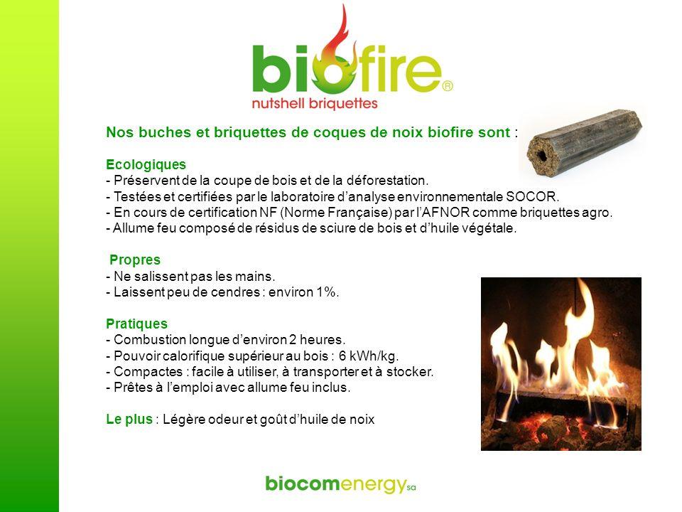 Nos buches et briquettes de coques de noix biofire sont :
