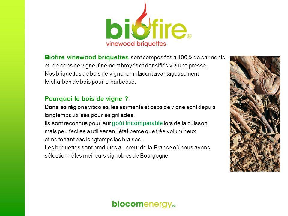 Biofire vinewood briquettes sont composées à 100% de sarments