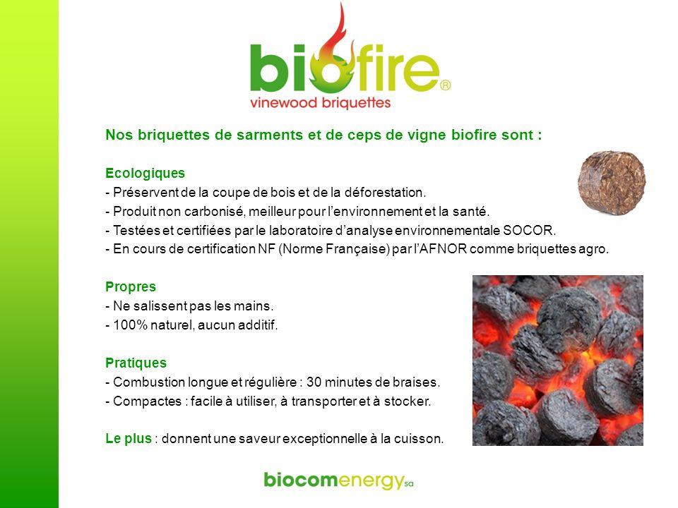 Nos briquettes de sarments et de ceps de vigne biofire sont :