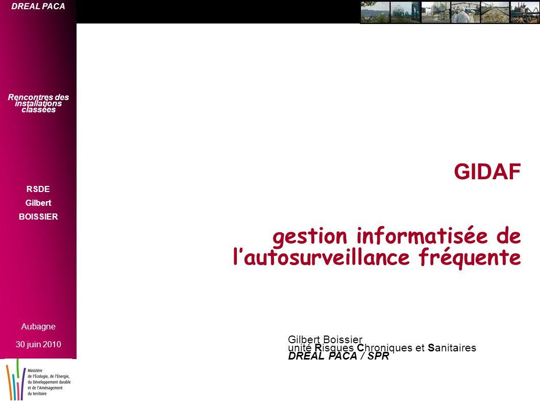 GIDAF gestion informatisée de l'autosurveillance fréquente