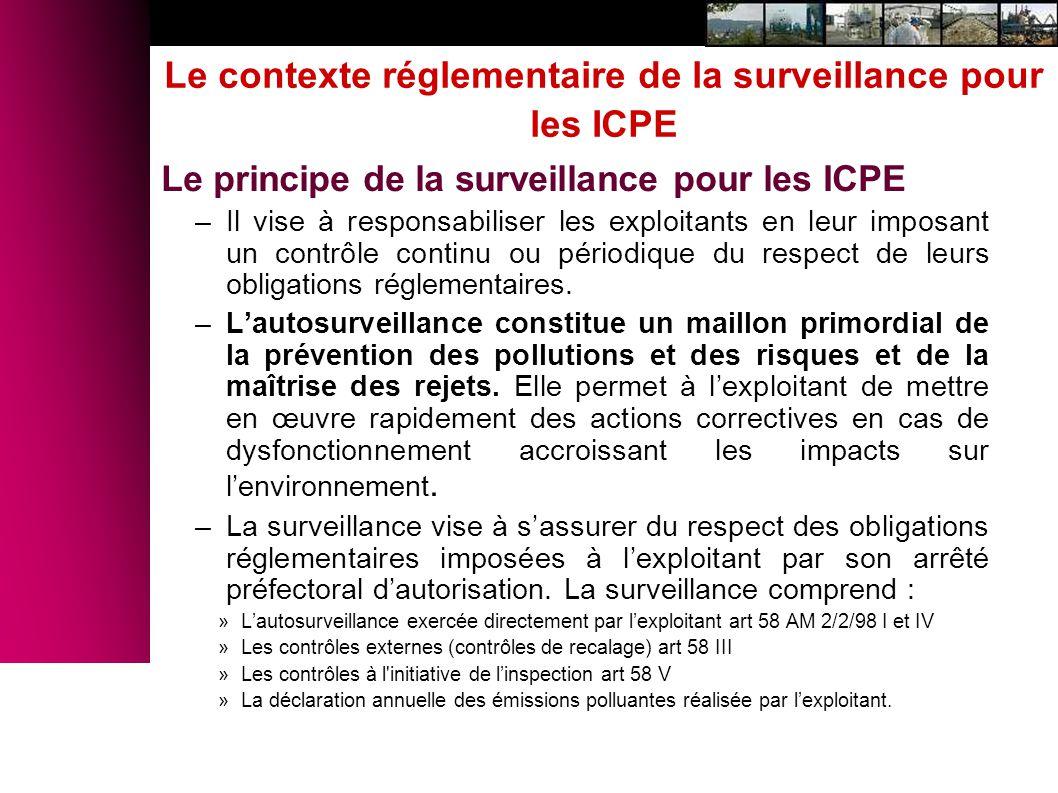 Le contexte réglementaire de la surveillance pour les ICPE