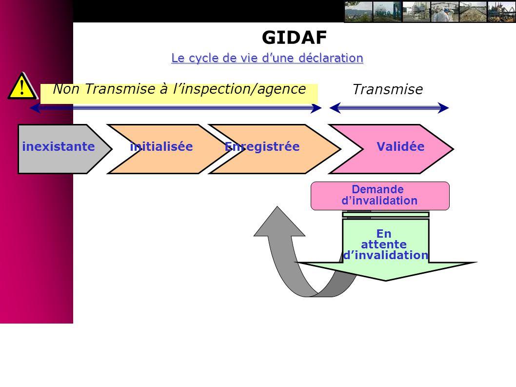 GIDAF Non Transmise à l'inspection/agence Transmise