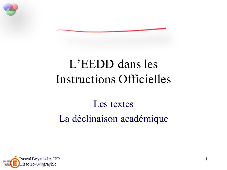 L'EEDD dans les Instructions Officielles