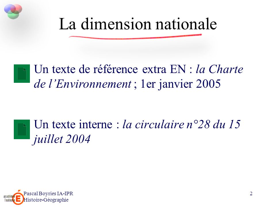 La dimension nationale
