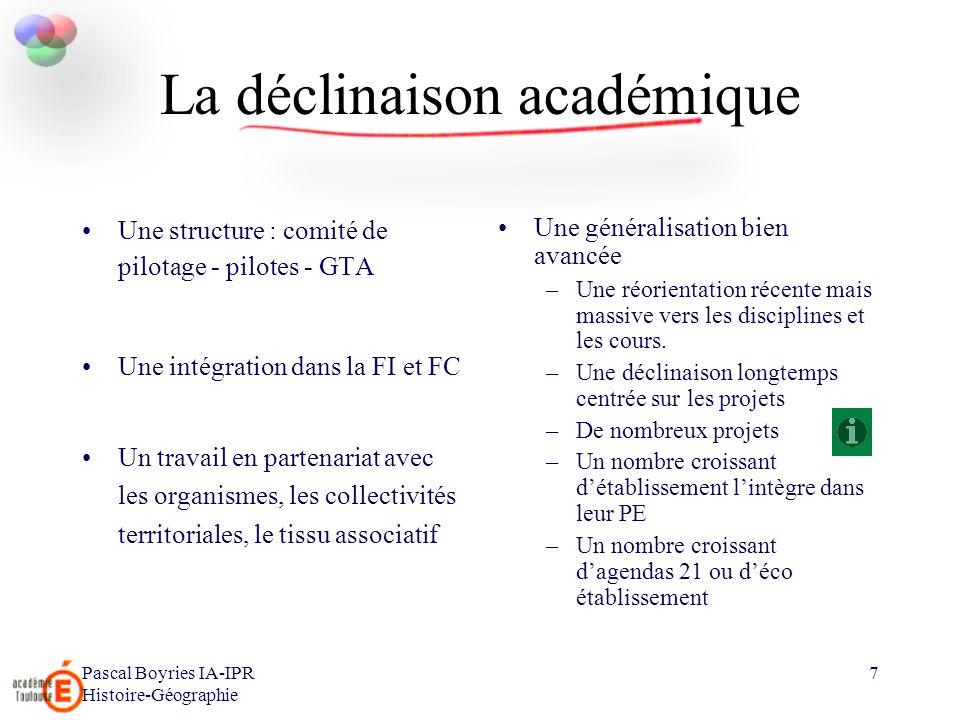 La déclinaison académique