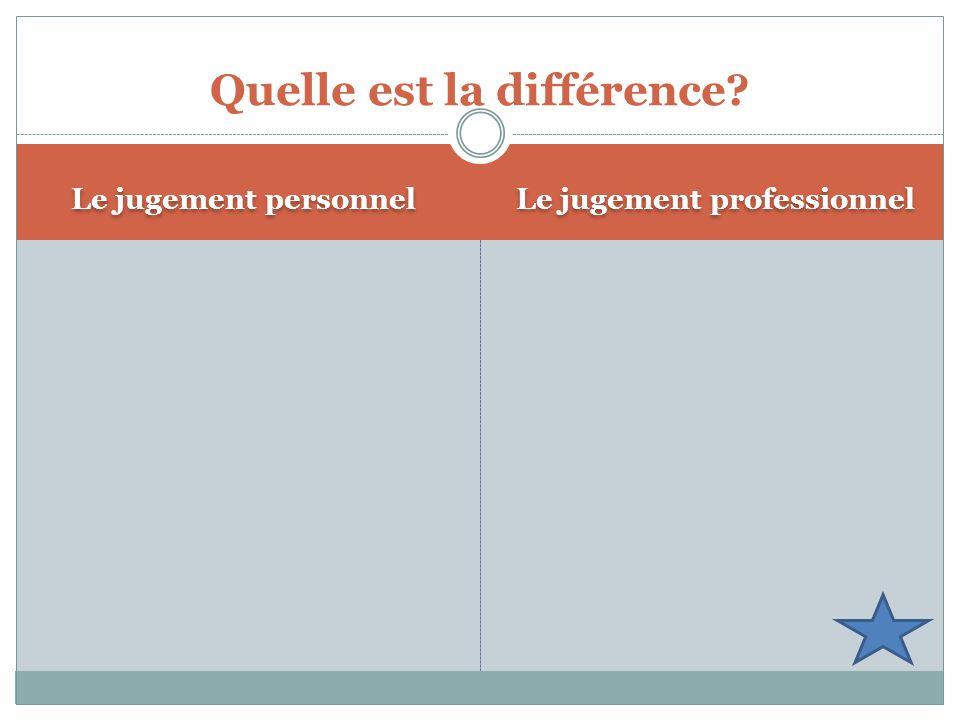 Quelle est la différence Le jugement professionnel